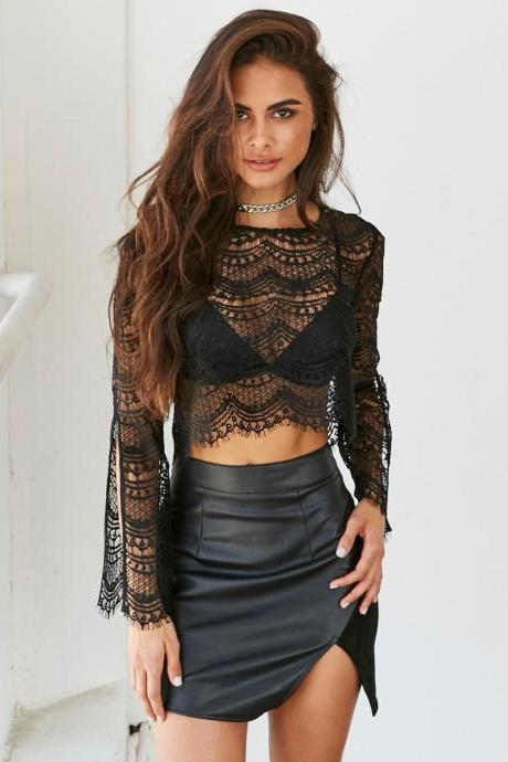 Sexy see-through lace sleeve shirt