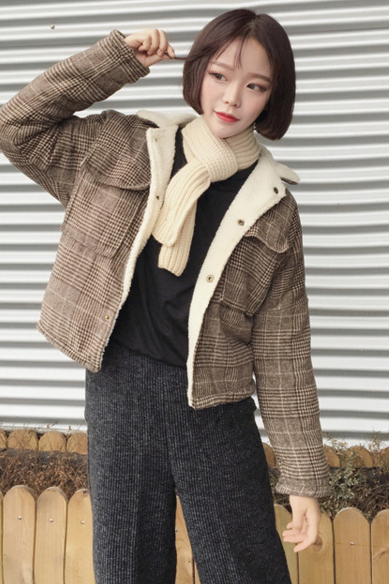 lattice cotton-padded jacket coat