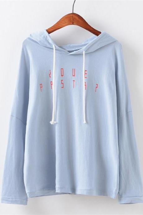 Loose hooded letters long fleece jacket coat