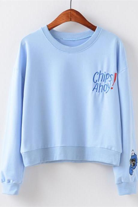 Long sleeve sets loose fashion round collar embroidery letters fleece sweater