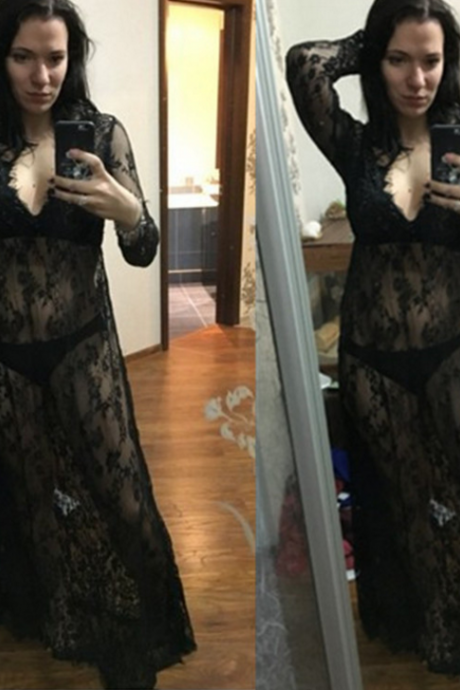 Lace dress sexy long-sleeved deep V perspective dress