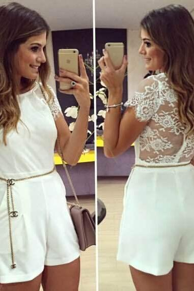 Fashion lace stitching jumpsuits