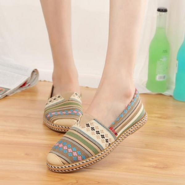 Round flat with mixed colors canvas shoes lazy shoes flat shoes