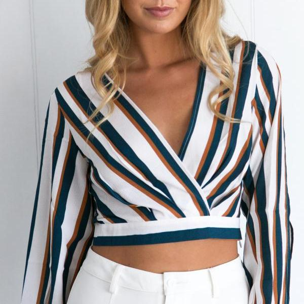 Long Sleeved Deep V-Neck Crop Top with Vertical Stripes